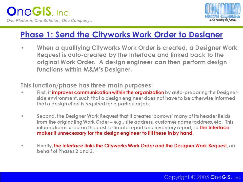 Phase 1: Send the Cityworks Work Order to Designer