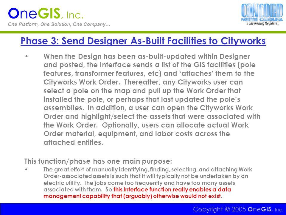 Phase 3: Send Designer As-Built Facilities to Cityworks