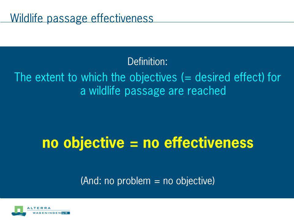 Wildlife passage effectiveness
