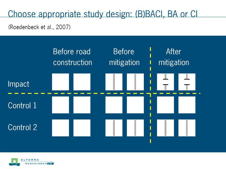 Choose appropriate study design: (B)BACI, BA or CI