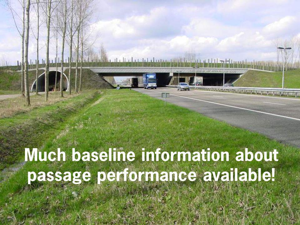 Much baseline information about passage performance available!