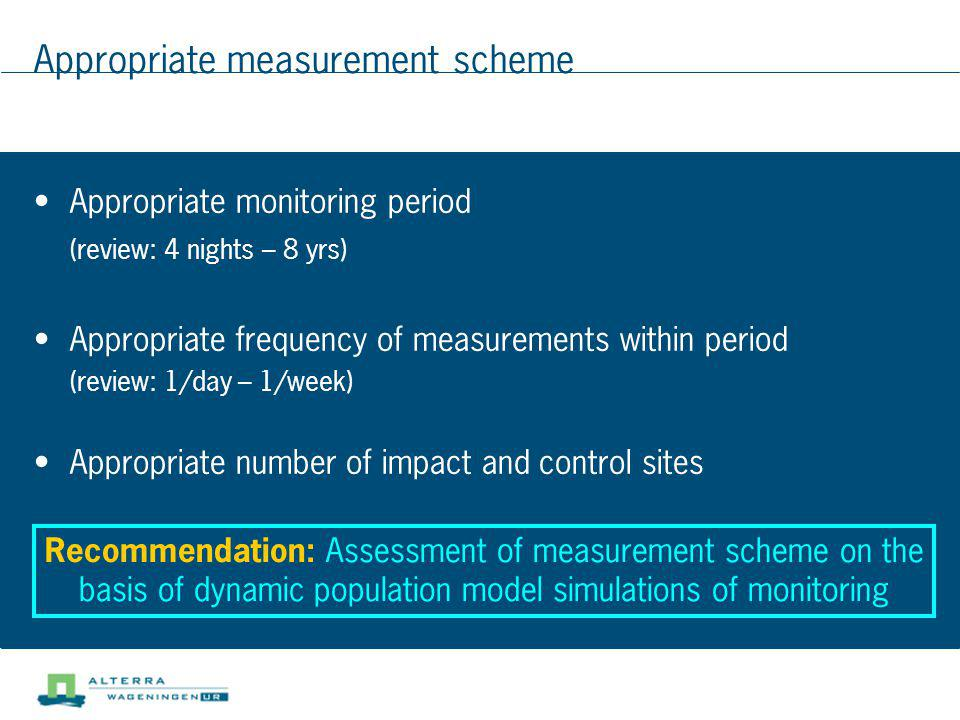 Appropriate measurement scheme