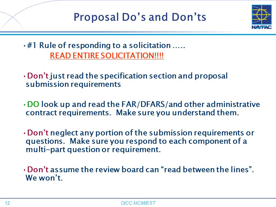 Proposal Do's and Don'ts