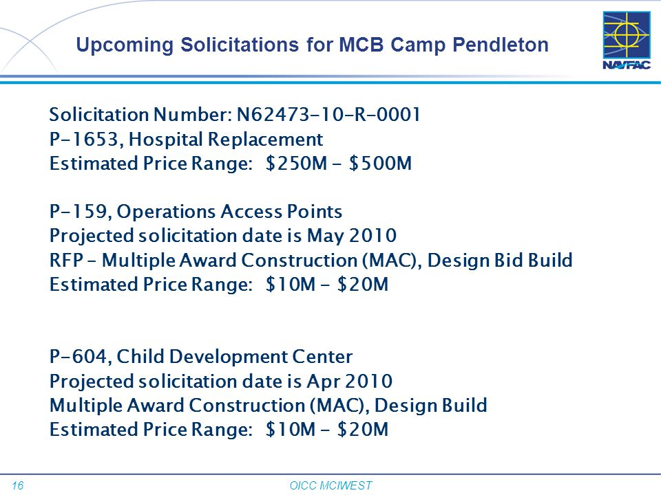 Upcoming Solicitations for MCB Camp Pendleton