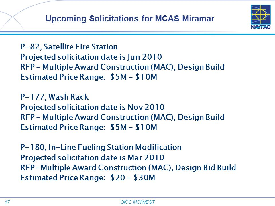 Upcoming Solicitations for MCAS Miramar