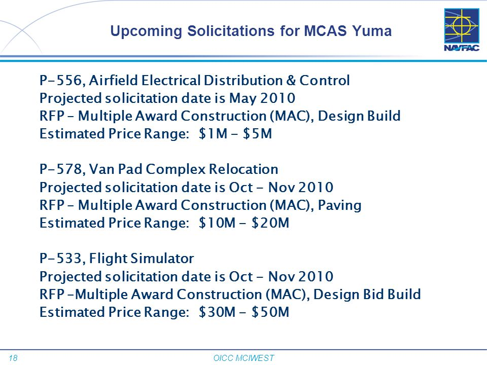 Upcoming Solicitations for MCAS Yuma
