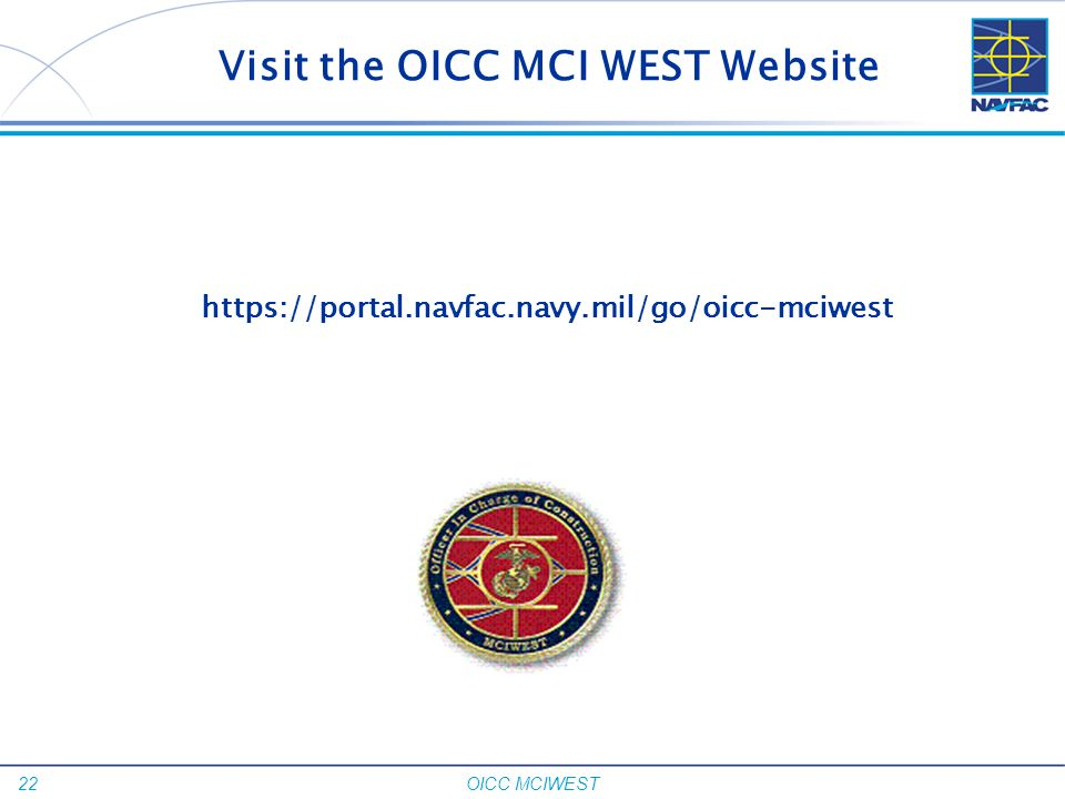 Visit the OICC MCI WEST Website