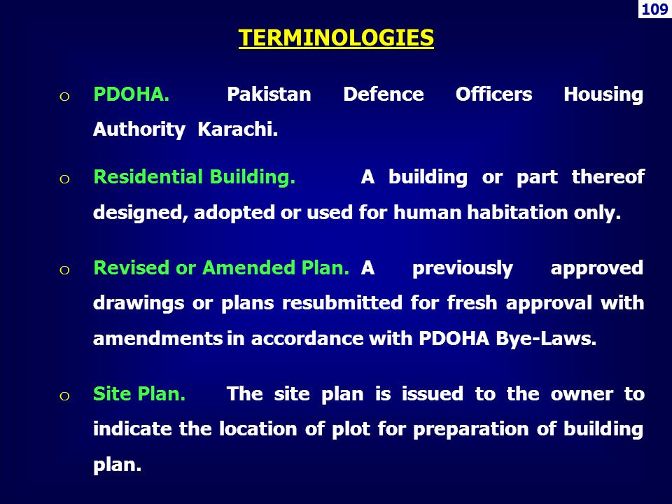 109 TERMINOLOGIES. PDOHA. Pakistan Defence Officers Housing Authority Karachi.
