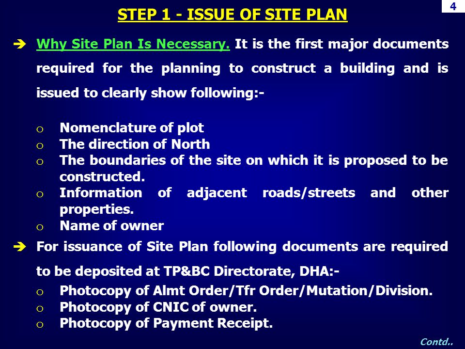 STEP 1 - ISSUE OF SITE PLAN