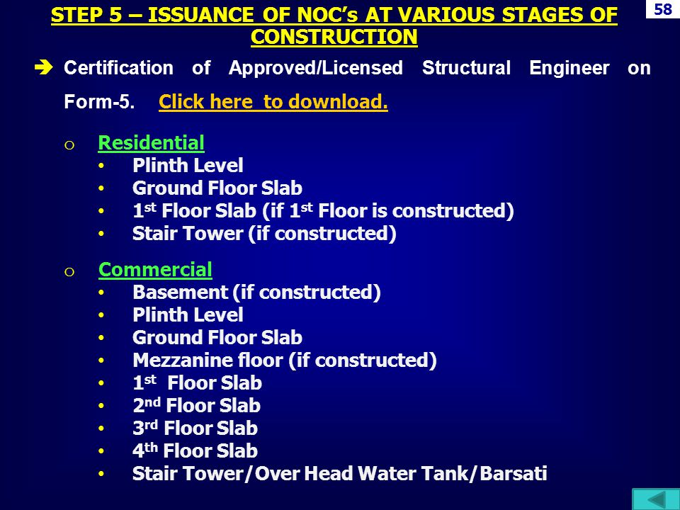 STEP 5 – ISSUANCE OF NOC's AT VARIOUS STAGES OF CONSTRUCTION