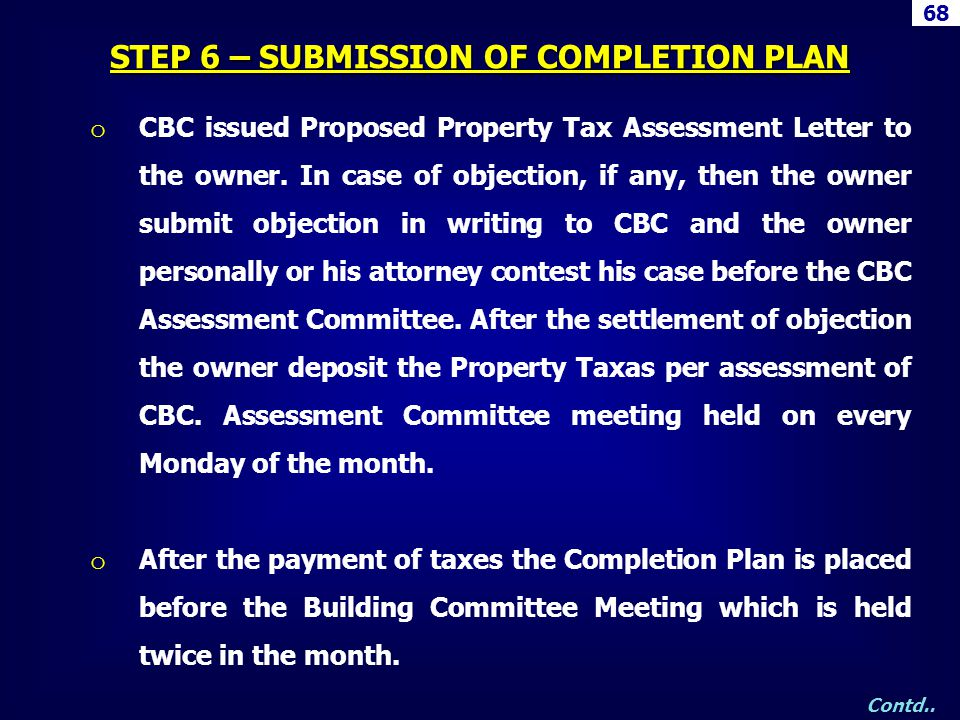 STEP 6 – SUBMISSION OF COMPLETION PLAN