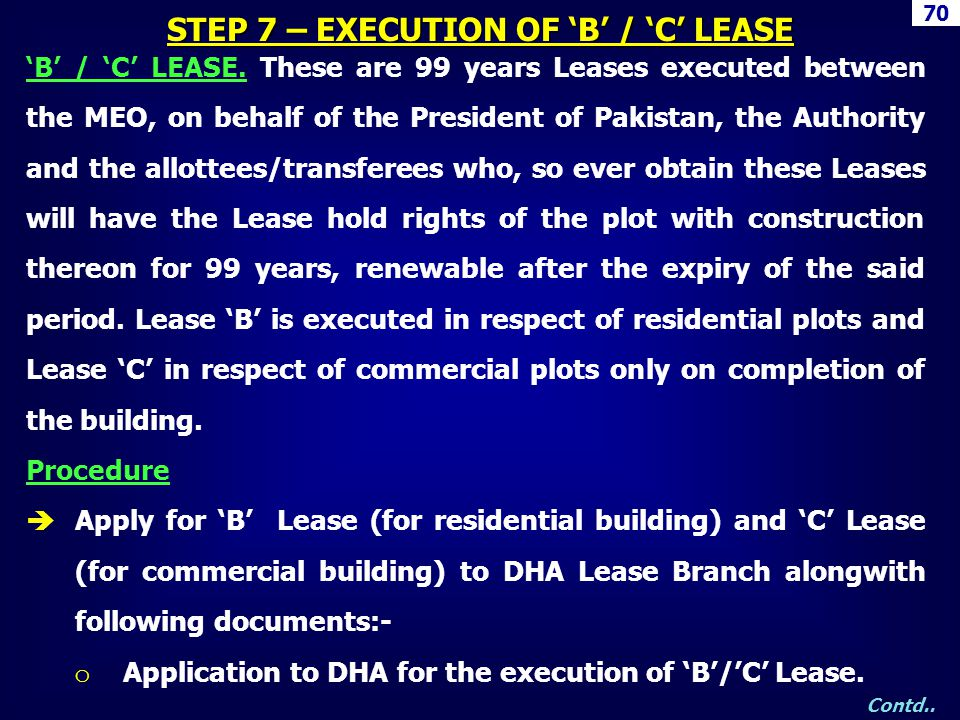 STEP 7 – EXECUTION OF 'B' / 'C' LEASE