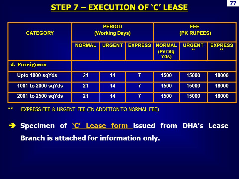 STEP 7 – EXECUTION OF 'C' LEASE
