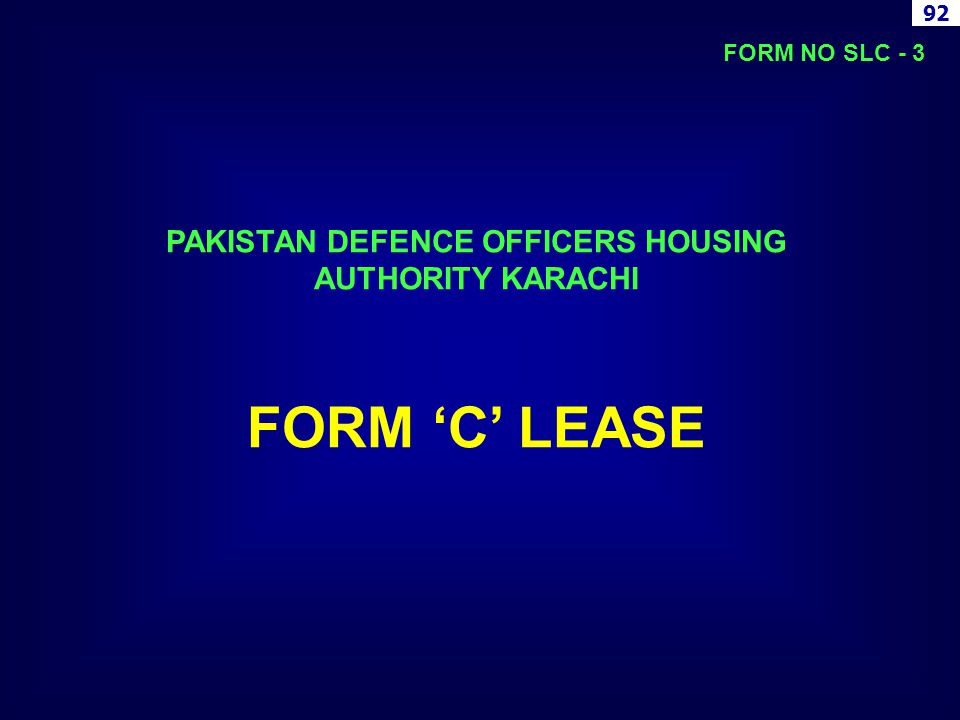 PAKISTAN DEFENCE OFFICERS HOUSING AUTHORITY KARACHI