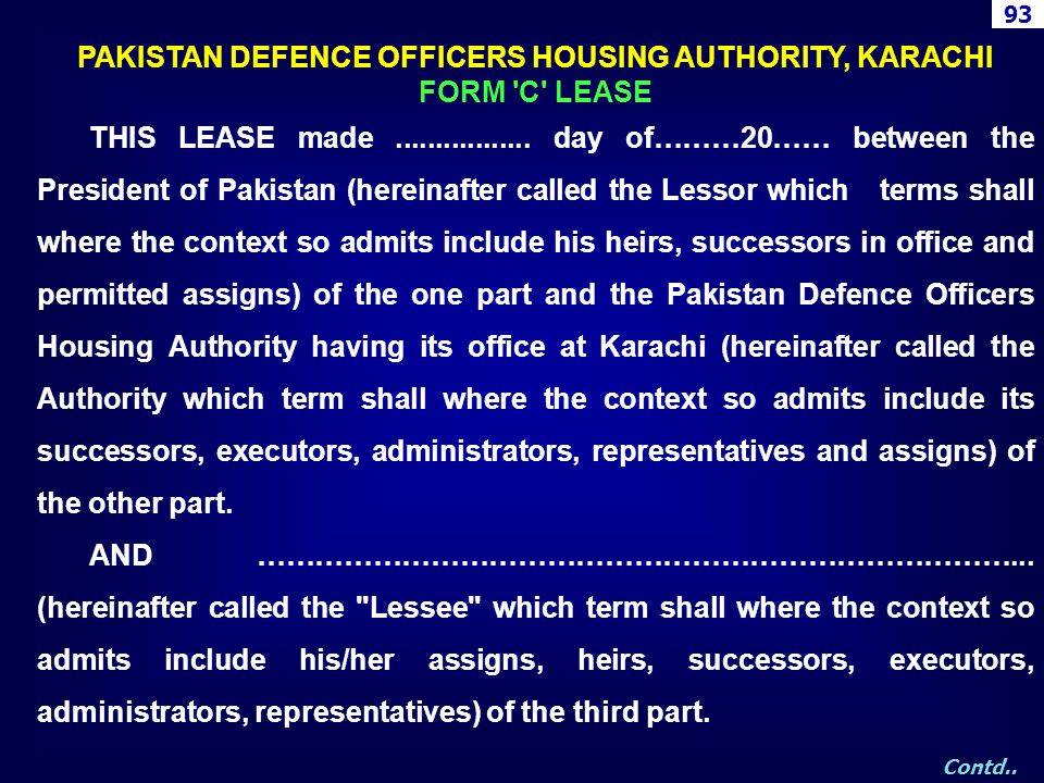 PAKISTAN DEFENCE OFFICERS HOUSING AUTHORITY, KARACHI
