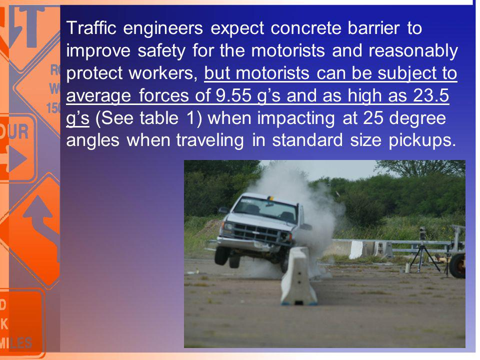 Traffic engineers expect concrete barrier to improve safety for the motorists and reasonably protect workers, but motorists can be subject to average forces of 9.55 g's and as high as 23.5 g's (See table 1) when impacting at 25 degree angles when traveling in standard size pickups.
