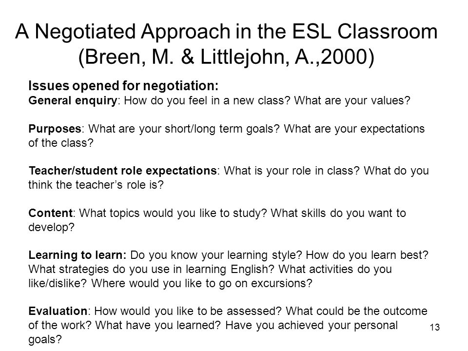 A Negotiated Approach in the ESL Classroom (Breen, M. & Littlejohn, A