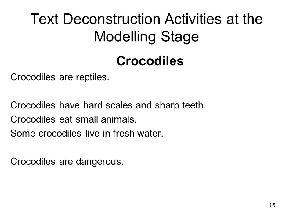 Text Deconstruction Activities at the Modelling Stage