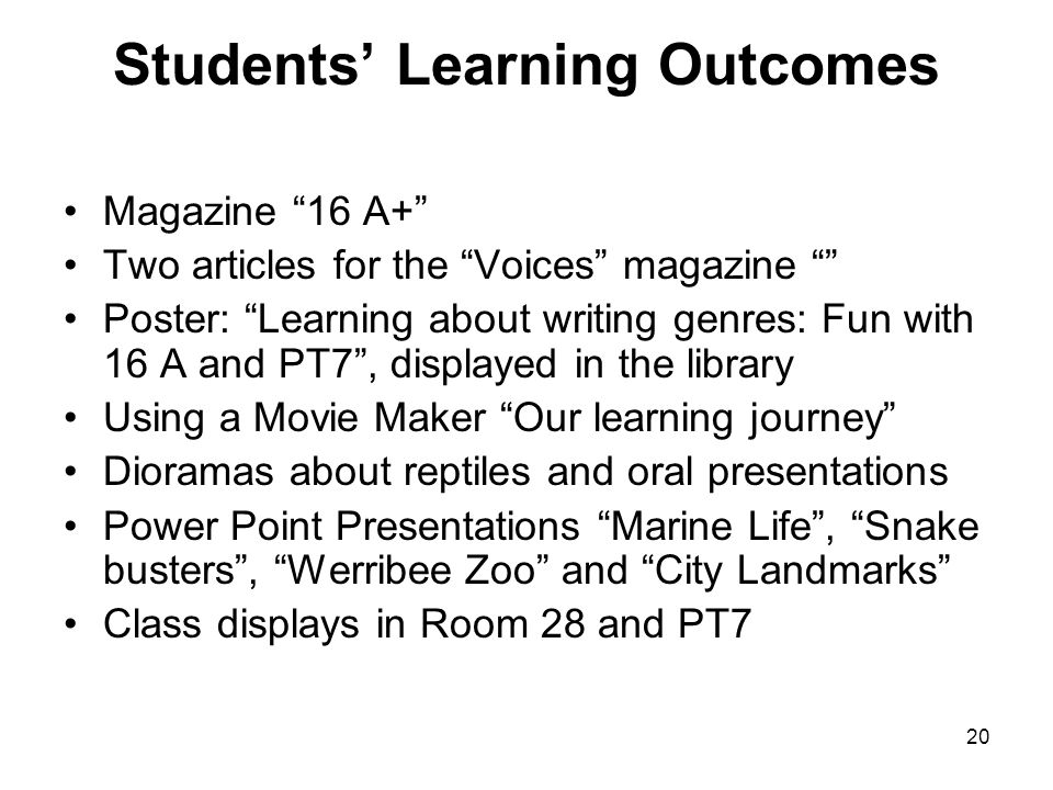 Students' Learning Outcomes