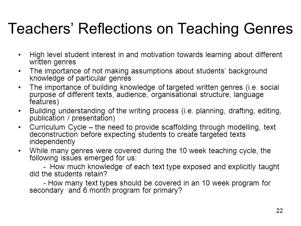 Teachers' Reflections on Teaching Genres