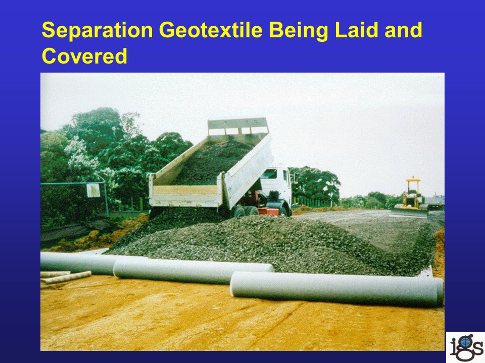 Separation Geotextile Being Laid and Covered