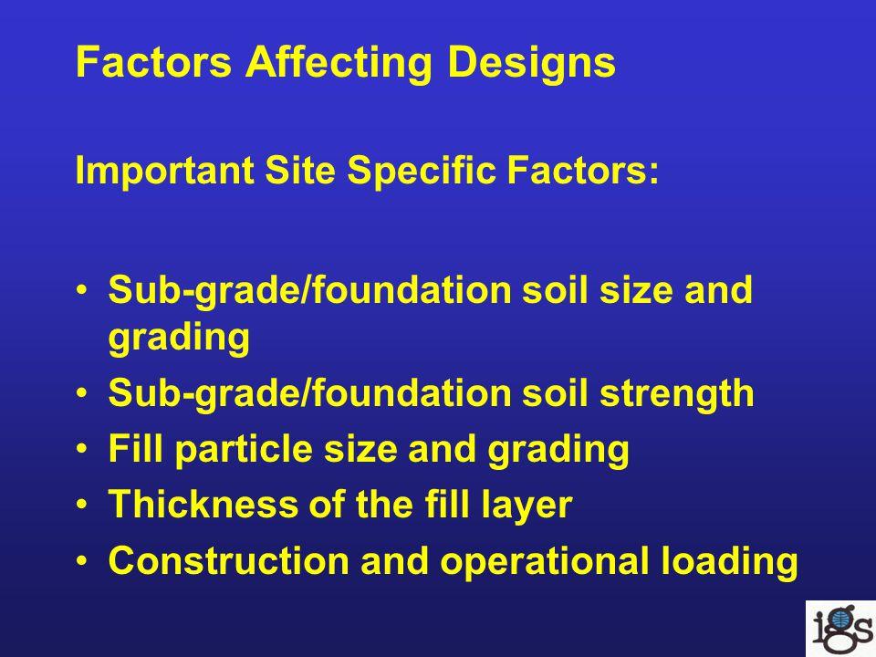 Factors Affecting Designs Important Site Specific Factors: