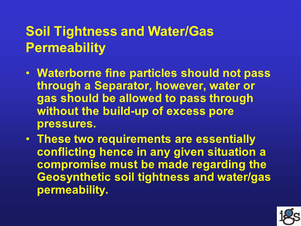 Soil Tightness and Water/Gas Permeability