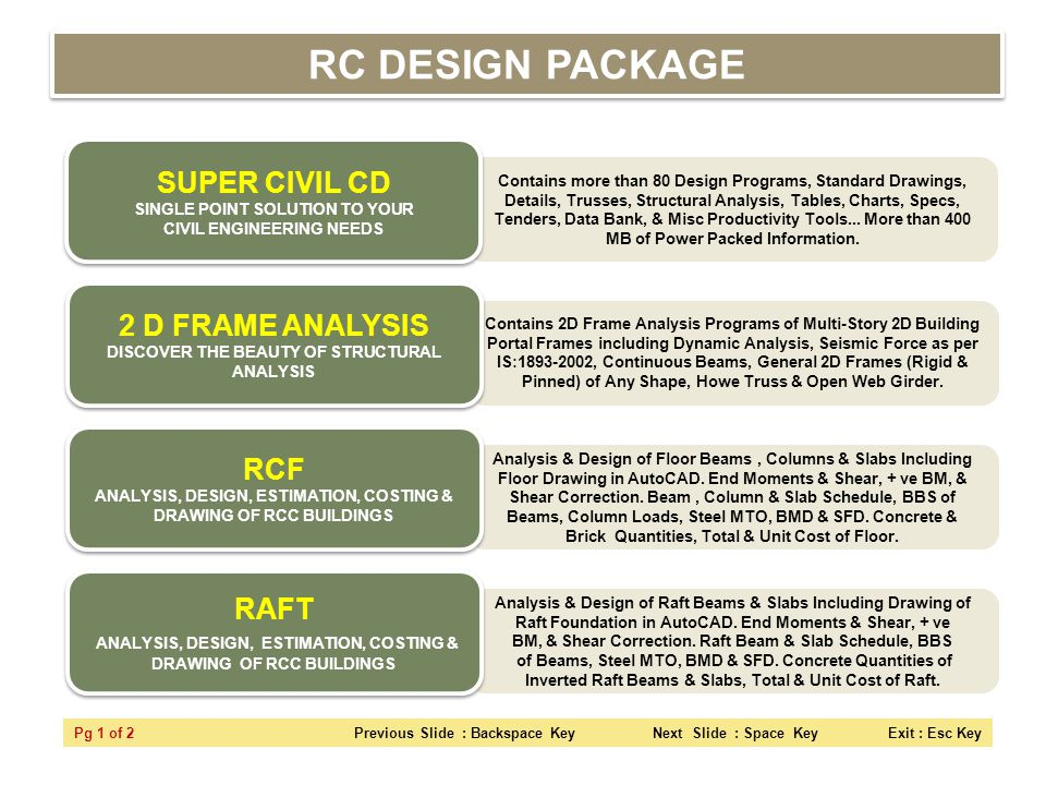 RC DESIGN PACKAGE SUPER CIVIL CD SINGLE POINT SOLUTION TO YOUR CIVIL ENGINEERING NEEDS.