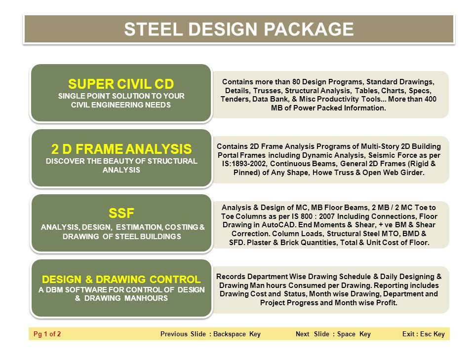 STEEL DESIGN PACKAGE SUPER CIVIL CD SINGLE POINT SOLUTION TO YOUR CIVIL ENGINEERING NEEDS.