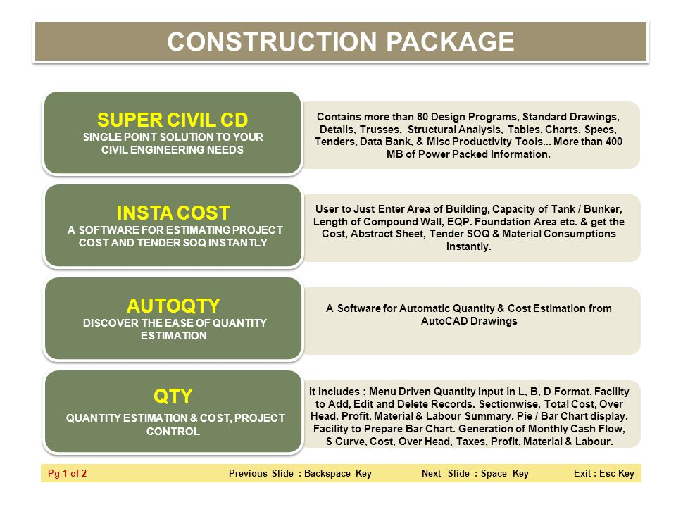 CONSTRUCTION PACKAGE SUPER CIVIL CD SINGLE POINT SOLUTION TO YOUR CIVIL ENGINEERING NEEDS.