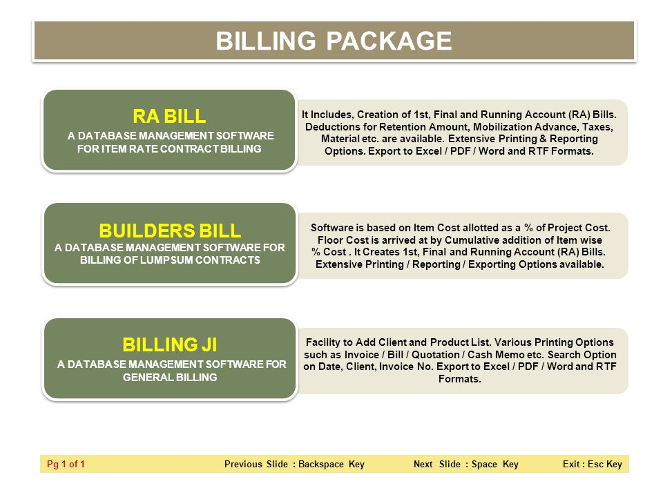 BILLING PACKAGE RA BILL A DATABASE MANAGEMENT SOFTWARE FOR ITEM RATE CONTRACT BILLING.