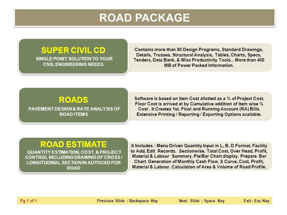 ROAD PACKAGE SUPER CIVIL CD SINGLE POINT SOLUTION TO YOUR CIVIL ENGINEERING NEEDS.