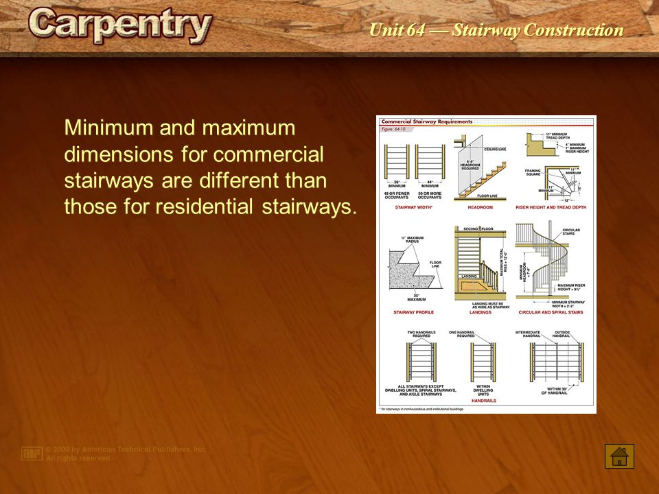 Minimum and maximum dimensions for commercial stairways are different than those for residential stairways.