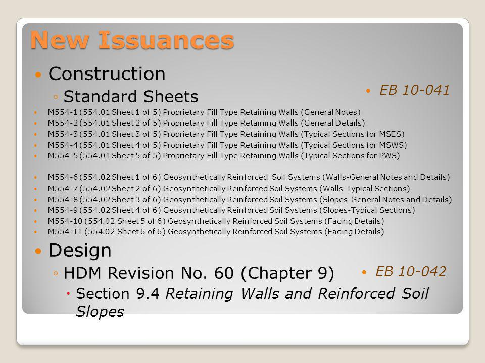 New Issuances Construction Design Standard Sheets