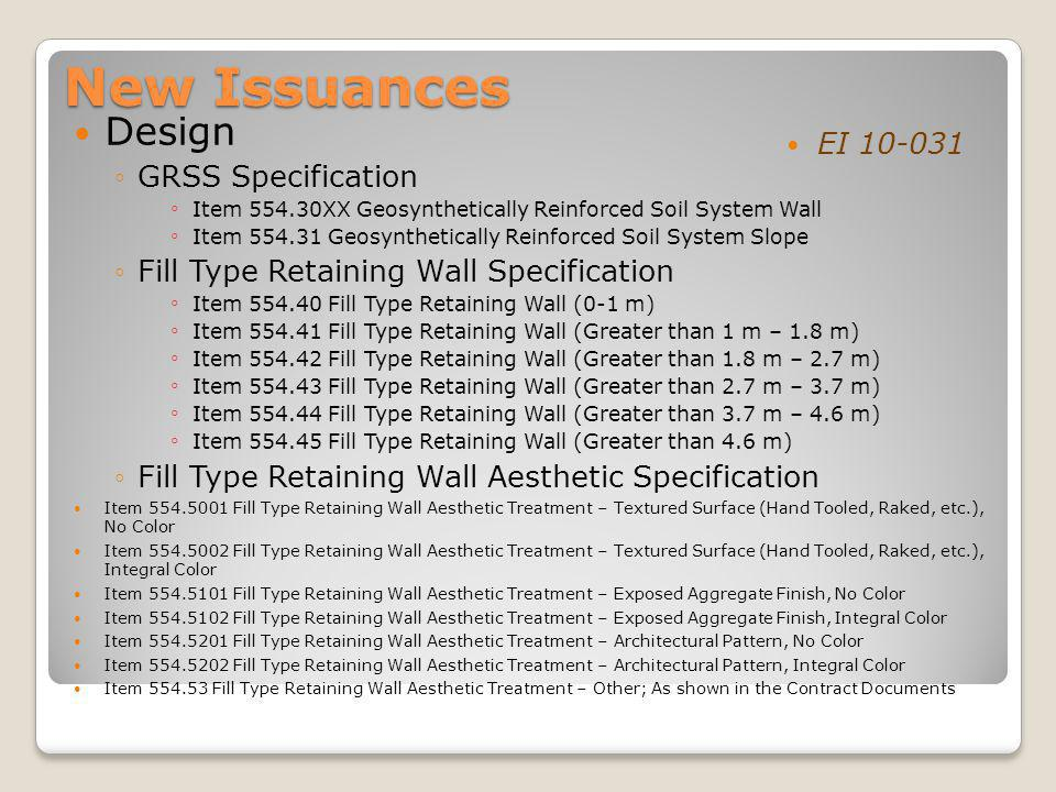 New Issuances Design EI 10-031 GRSS Specification