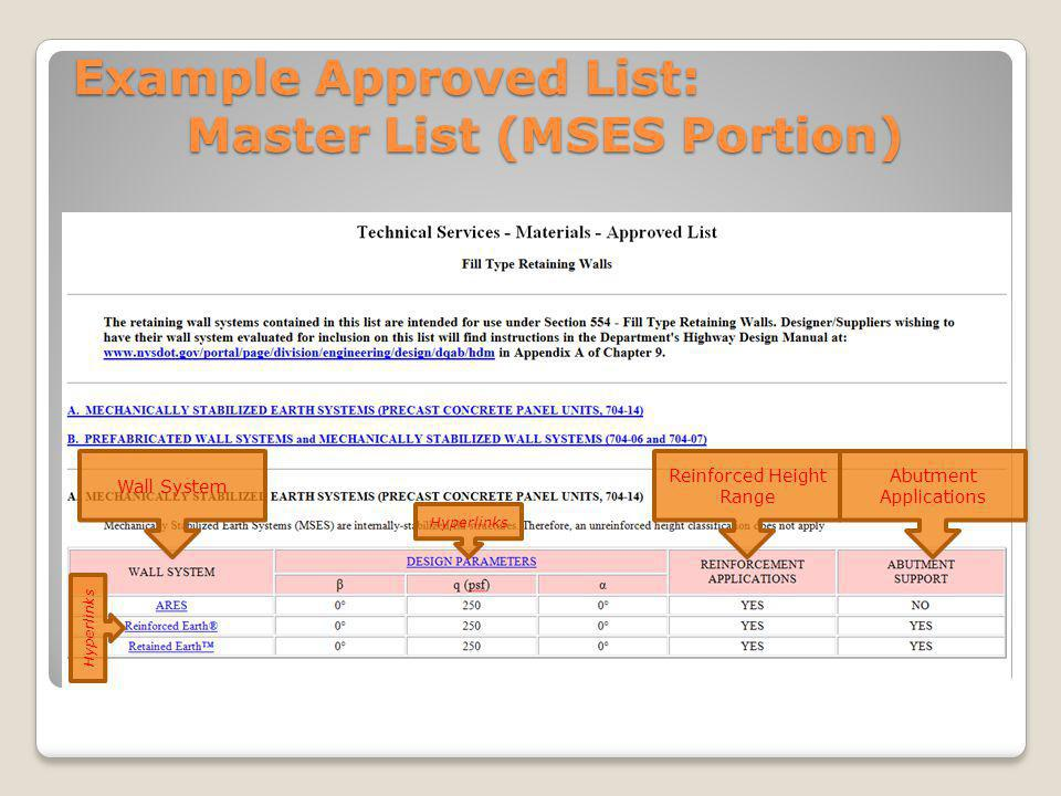 Example Approved List: Master List (MSES Portion)
