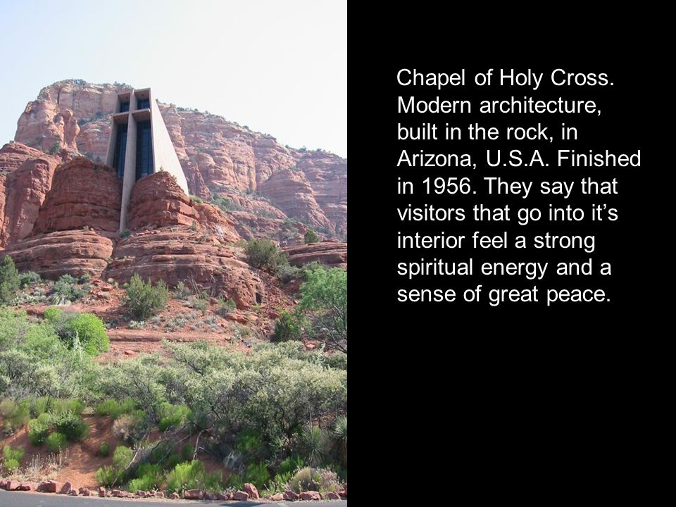 Chapel of Holy Cross. Modern architecture, built in the rock, in Arizona, U.S.A.