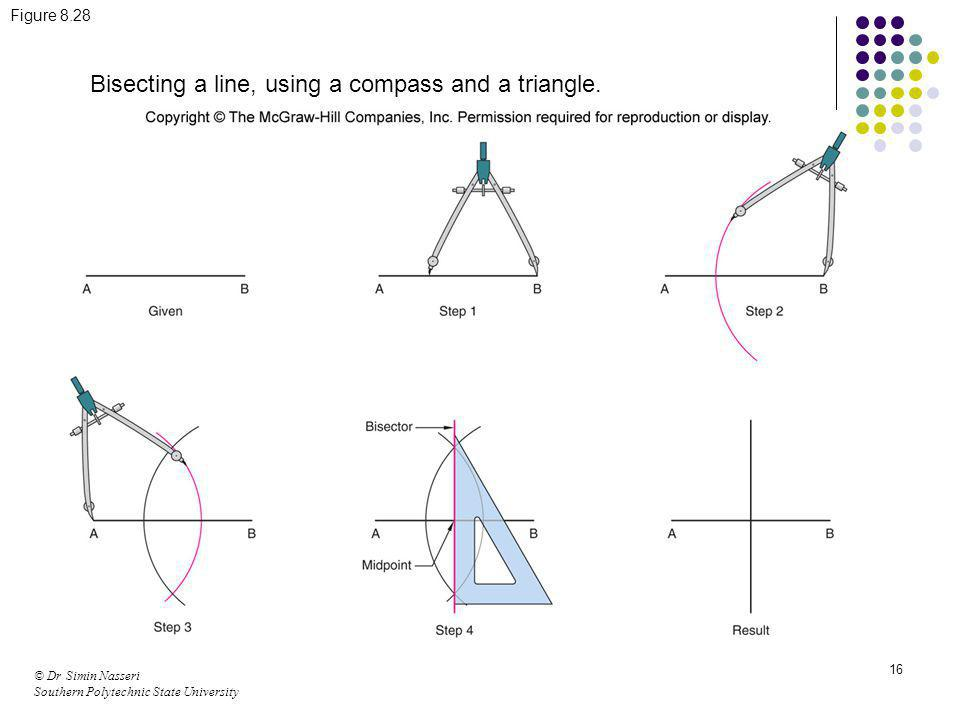 Bisecting a line, using a compass and a triangle.