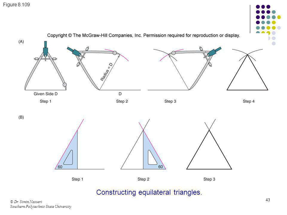 Constructing equilateral triangles.