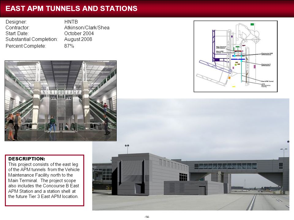 EAST APM TUNNELS AND STATIONS