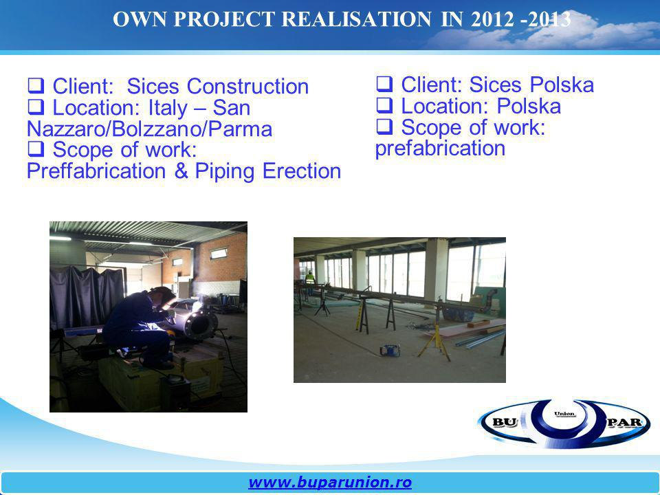 OWN PROJECT REALISATION IN 2012 -2013