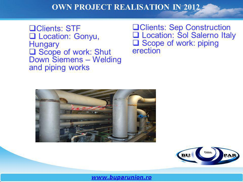 OWN PROJECT REALISATION IN 2012