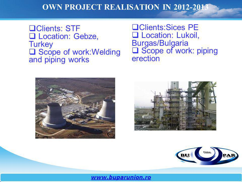 OWN PROJECT REALISATION IN 2012-2013