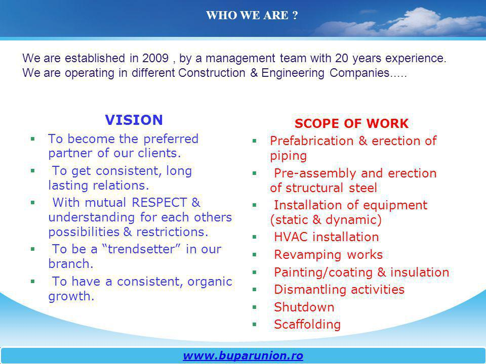 WHO WE ARE We are established in 2009 , by a management team with 20 years experience.