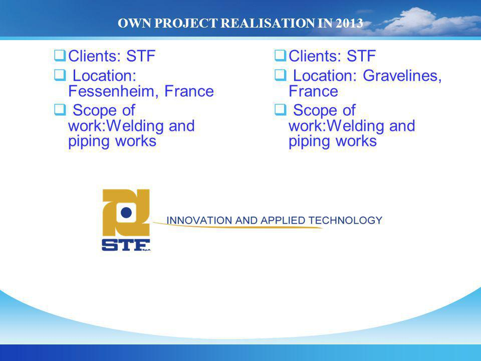 OWN PROJECT REALISATION IN 2013