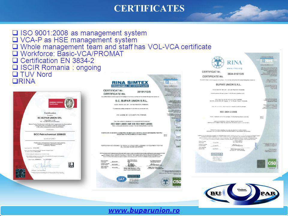 ISO 9001:2008 as management system VCA-P as HSE management system