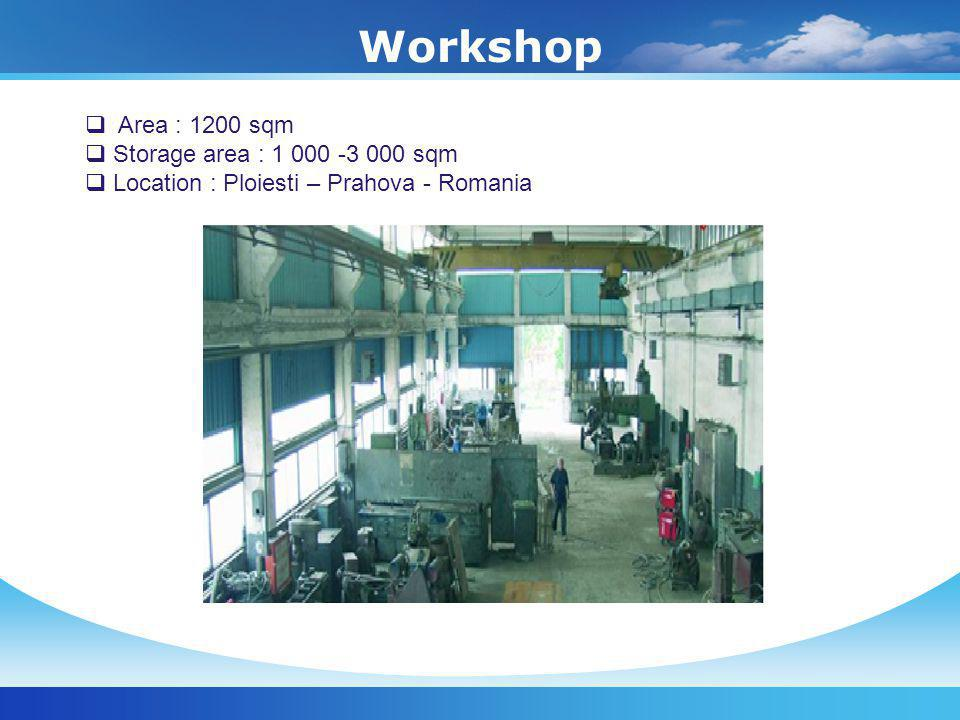 Workshop Area : 1200 sqm Storage area : 1 000 -3 000 sqm