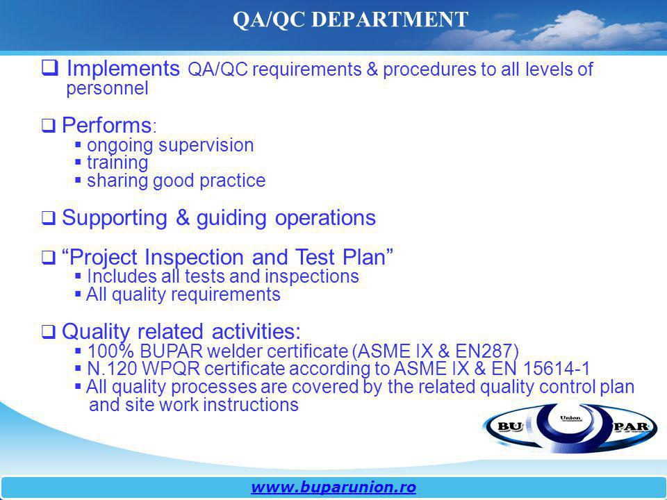 Implements QA/QC requirements & procedures to all levels of