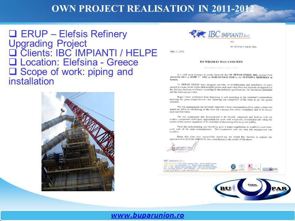OWN PROJECT REALISATION IN 2011-2012