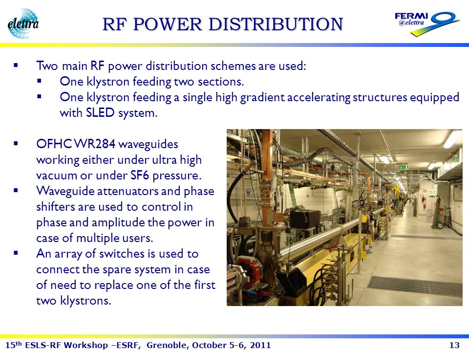 RF POWER DISTRIBUTION Two main RF power distribution schemes are used: